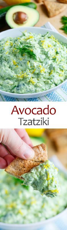 I recently made some  tzatziki sauce  and while I was enjoying it I thought, wouldn't it be even better, even creamier with avocado? With that thought I just had to grab some avocados and add them ...
