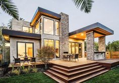 Modern Home With Stone and Glass Accents