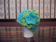 CHOOSE SIZE Baby Flower Hat Blue Turquoise by MarlowsGiftCottage, $16.00