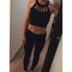 Cage Crop Top Black cage crop top. Size small. Worn once. Forever 21 Tops Crop Tops
