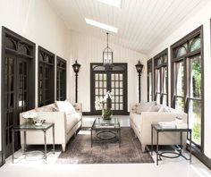 Modern sunrooms - 25 ideas how to create an oasis at home - j. goodwin - Modern sunrooms - 25 ideas how to create an oasis at home Modern sunrooms - 25 ideas how to create an oasis at home - Diy Design, Design Ideas, Design Inspiration, Dark Wood Trim, Grey Trim, Traditional Porch, Slanted Ceiling, White Walls, Cream Walls