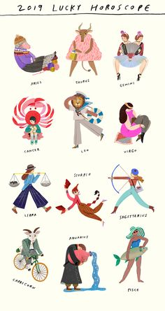 2019 Horoscope illustration for Marie Claire Magazine. Each month has it's lucky item, color and number. Zodiac Art, Astrology Zodiac, Zodiac Signs, Cute Illustration, Graphic Design Illustration, Leo Constellation Tattoo, Shirt Print Design, Galaxy Art, Constellations