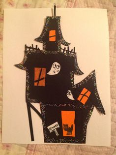 Cute haunted house I made. A cute Halloween craft for your kids to make.