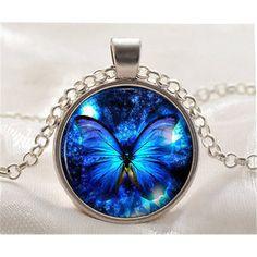 Halskette Cabochon Schmetterling Anhänger Ketten Schmuck silber blau Mode Neu