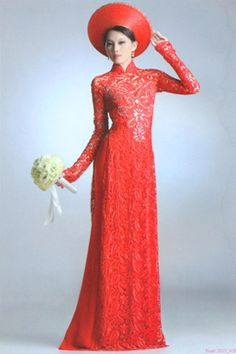 901fc1e2d4e Wedding gowns · love the fit and the lace of this red ao dai Vietnamese  Traditional Dress