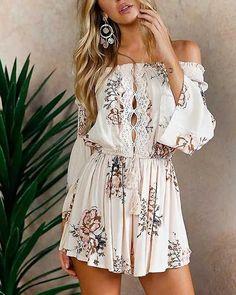 2b01fb9b134e Boho Front Tie Waist Off Shoulder Floral Romper Dress