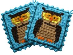 Owl Pot Holder Set.  Turquoise crochet potholders with by hooknsaw