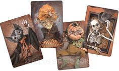 New set of four Halloween postcards available. $12 per set and free shipping within in the continental US. http://www.rucusstudio.com/#!postcards/c9b
