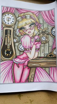 Coloring Book Art, Colouring Pages, Hannah Lynn, Colored Pencils, Steampunk, Mermaid, Color Palettes, Drawings, Pink