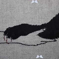 Embroidery Art By Adipocere | Art | ARTWOONZ  <br> Embroidery Art By Adipocere. Adipocere is the nick name of Australian artist John who has been interested in embroidery art since 2014. Art Folder, Dark Tattoo, Arte Horror, Cat Wall, Woodland Creatures, Australian Artists, Book Of Shadows, Embroidery Art, Natural Linen