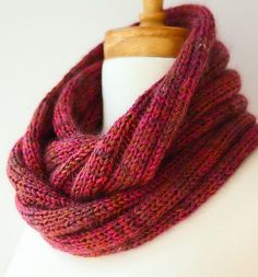 Free Knitting Pattern for Easy Five by Five Cowl - Very easy infinite scarf is knit with 3 strands of fingering yarn together to give it great color variations. Designed by Felicia Lo for SweetGeorgia Yarns