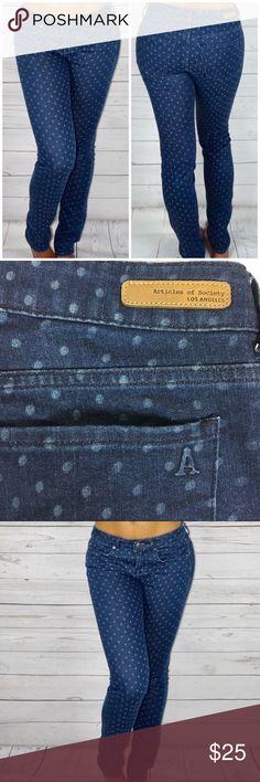 Articles of Society Polkadot Skinny Jeans Polkadot Denim - wash: Mya dot laser - skinny jeans - Waist: 13 1/2 inches - Rise: 7 3/4 inches - Inseam: 30 3/4 inches Articles Of Society Jeans Skinny