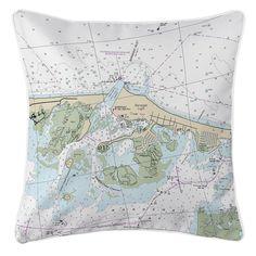 NJ: Barnegat Light, NJ Nautical Chart Pillow