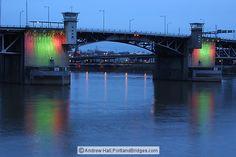 Morrison Bridge, Lighted, Dusk