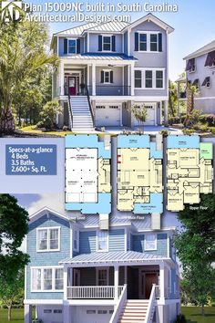 Architectural Designs House Plan built by our friends in South Carolina Coastal House Plans, Beach House Plans, Dream House Plans, Modern House Plans, Small House Plans, Br House, Cottage House, The Sims, Sims House Plans