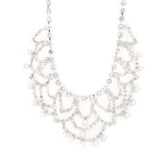 Rhinestone Swag and Pearl Dangle Statement Necklace | Icing