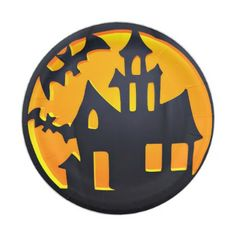 Scary Pumpkin Haunted House Jack O Lantern Paper Plate - kitchen gifts diy ideas decor special unique individual customized