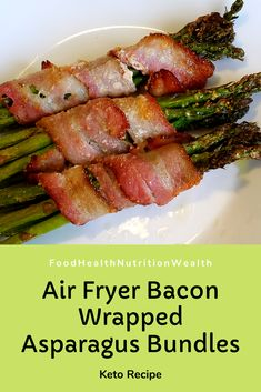 These air fried bacon wrapped asparagus bundles are so easy to make and delicious! The asparagus is perfectly cooked and the bacon and asparagus tips are cri. Asparagus Fries, Bacon Wrapped Asparagus, Low Carb Recipes, Healthy Recipes, Lchf Diet, Health And Nutrition, Food Videos, Food Porn, Stuffed Peppers
