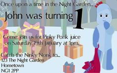 In The Night Garden Birthday Party Invitation. 1st Birthday Party Invitations, 1st Birthday Parties, Birthday Ideas, Garden Kids, Garden Birthday, Night Garden, Daisy, Balloons, Projects To Try