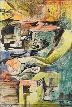 John Minton - Landscape, 1956, (Watercolour, pastel, pen and ink)