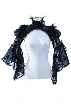 Feather  Black Lace Shrug by RQBL
