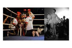 Diptyque photos au format 55x110 sur support 80x120 PLEXIGLAS CONTRECOLLAGE ALUMINIUM + CHÂSSIS DORSAL - Photo Gauche de Taylor Mabika à la pause 1er/2ème round contre Prince George Akrong pour conquérir la ceinture de champion d'Afrique lourd léger ABU (African Boxing Union) le 27.12.2013 Libreville Gabon  - Photo Droite : Défilé Clarisse Hieraix Printemps – été 2014 « Eclosion » du Mardi 21 Janvier 2014 à l'espace Pierre Cardin - Photo de Samuel Bailhache - Edition 1/3 - Prix : 1600€