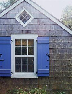 I like the hydrangea blue shutters for a pop of color outside.