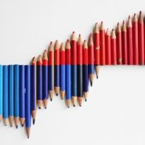 Anu Tuominen: Degrees, 2010 (used blue, blue-and-red, red pencils)