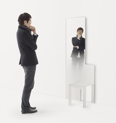 Mirror Chair and Mirror Stool by Nendo for Glas Italia #Design #Furniture #MilanDesignWeek