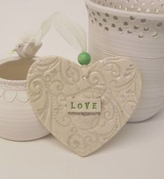 Ceramic LOVE heart decoration By Dottery Pottery £8.00