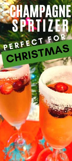 This cranberry champagne spritzer is delicious! It's a perfect holiday cocktail recipe that is light and refreshing. Try this Christmas drink recipe today.