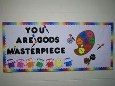 Christian Bulletin Board Ideas - Bing Images This would be cute on or by art easel. Religious Bulletin Boards, Bible Bulletin Boards, Christian Bulletin Boards, Back To School Bulletin Boards, Preschool Bulletin Boards, Bullentin Boards, Creation Bulletin Boards, September Bulletin Boards, Sunday School Rooms