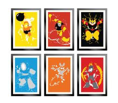 Geek Art / Robot Masters of Mega Man 1 Set of 6 Posters