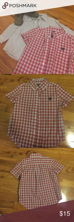 Two Button Down boys shirts! Gently used boys long sleeve and short sleeve button down shirts Shirts & Tops Button Down Shirts
