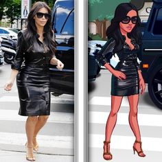 Kim Kardashian Game Character | Kim Kardashian wears an edgy leather dress