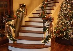 Christmas garland on the stairs