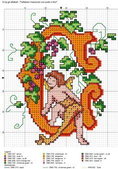 alfabeto maiuscolo con putto e fiori G