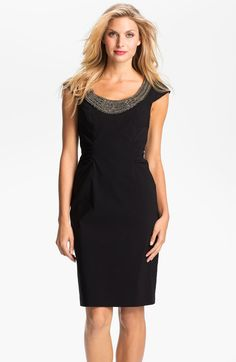 Adrianna Papell Black Beaded Neck Ruched Sheath Dress
