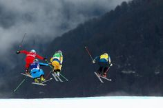 Jorinde Mueller of Switzerland, Andrea Limbacher of Austria, Sandra Naeslund of Sweden and Jenny Owens of Australia compete in the Freestyle Skiing Womens' Ski Cross Finals (c) Getty Images Womens Ski, Freestyle Skiing, Ski Bunnies, Past Life, Extreme Sports, Austria, Switzerland, Sweden, Finals