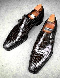 Mens Alligator Dress Shoes Monk Strap Buckle Loafers Slip on Oxford Shoes Mens Casual Leather Shoes, Mens Shoes Boots, Leather Men, Men's Shoes, Shoe Boots, Shoes Style, Sneaker Dress Shoes, Alligator Boots, Double Monk Strap Shoes