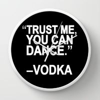 Wall Clocks featuring Trust me, you can dance. by Sara Eshak