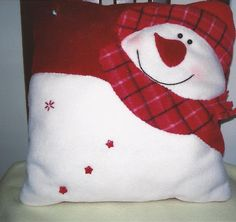 Pillow has red and white snowman wearing a plaid scarf and hat. Christmas Cushions, Christmas Pillow, Christmas Snowman, Christmas Stockings, Christmas Crafts, Christmas Ornaments, Christmas 2019, Christmas Sewing, Christmas Projects