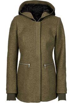 Jacke mit Wollanteil, RAINBOW, khakigrün/schwarz
