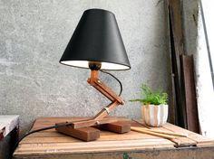 "Modern Table Lamp ""Plat I"", Desk Lighting, Accent Lamp, Black Lamp Shade, Mid Century Lamp, Nursery Lamp, Nursery Lighting, Retro Lamp"
