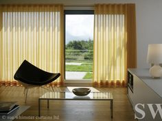 Shading Specialists offers luxury window treatments like silent gliss, markilux, lutron blinds across the UK and Internationally. Let's dress your window. Wave Curtains, Voile Curtains, Yellow Curtains, Modern Curtains, Curtains With Blinds, Curtain Fabric, Drapery, Sliding Door Curtains, Sliding Doors