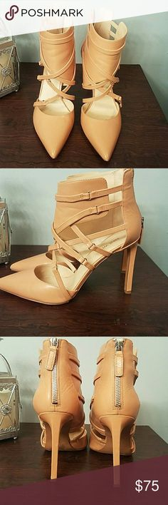 Nude leather open bootie.  These are so chic. Nine Wesy Leather zip up fashion bootie. Sleek design. Zip in back. 4 inch heel. Nine West Shoes Ankle Boots & Booties