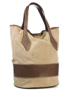 Mud leather and canvas shopping bag