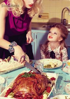 """""""Mother's Christmas"""": Kourtney Roy Does a Very Miles Aldridge Christmas for Vogue Nippon"""
