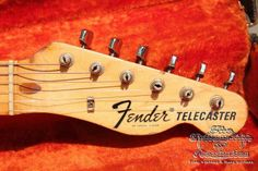 """1969 Fender® Telecaster® (US $10.200) This lightweight Tele® with original Olympic white finished body – 3.3 kg weight. It's now equipped with bare knuckle pickups, but the original working pickups are with the guitar and can be mounted back on, all other parts are original. A great guitar with solid ash body, 1-piece medium profile maple neck with skunkstripe. 2 original Fender® singlecoil pu´s in the case. 42.8mm (1 11/16"""") width at the nut. Including the original black tolex…"""