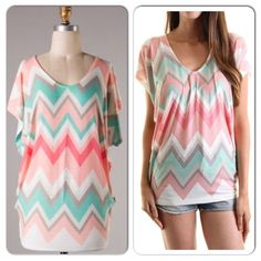 NWT Pastel Chevron Dolman Top NWT Pastel Chevron Dolman Top. Lightweight, flowy top in a gorgeous coral/peach/mint chevron pattern. An oversized fit, with lots of stretch! Rayon/Polyester blend fabric. Available in Small (0-4), Medium (6-8) ⭐️PLEASE DO NOT BUY THIS LISTING, COMMENT WITH THE SIZE YOU'D LIKE AND I WILL CREATE A SEPARATE LISTING FOR PURCHASING.⭐️No Trades and No Paypal Tops